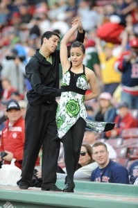 Luis Sanchez and his Ritmo en Accíon partner dancing atop the dugout at Fenway Park during a Sox game in 2008.