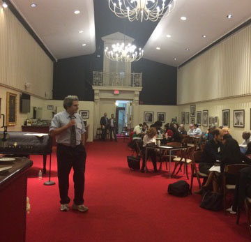 Eric Booth leads learning session for more than 40 teaching artists on October 13, 2016 at the META Fellowship launch at Boston's Symphony Hall.