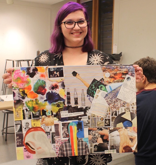 Hannah Capra with her collage. Photo: Art Reach at PAAM