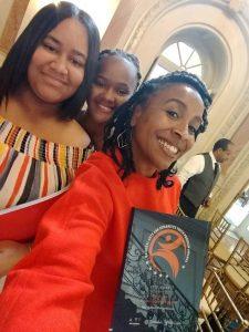 L_R Yamilex Ramus Peguero, Maria Cardoso, Christina Turner (Dir. Apprentices & Interns) with the NAHYP Award in Washington, D.C.